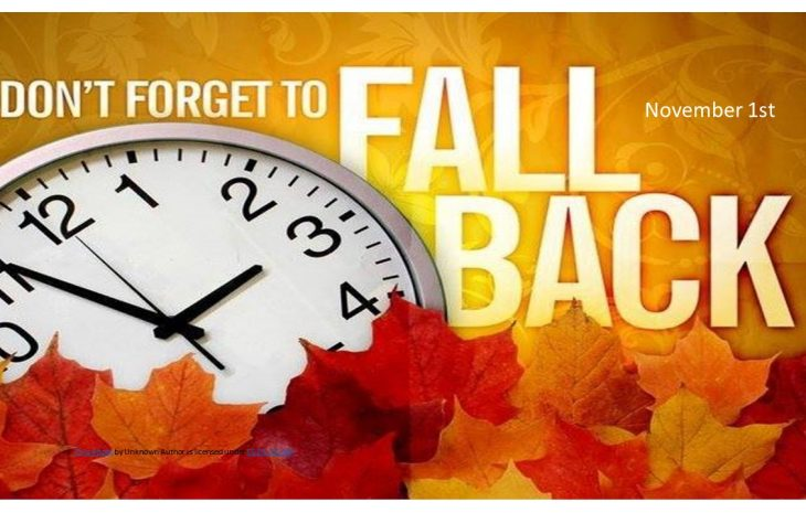 TIME CHANGE – FALL BACK ONE HOUR
